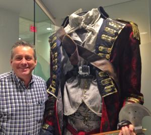 Bart next to the Headless Horseman costume from Sleepy Hollow