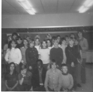Fifth grade class; Kelly is standing in the first row, 2nd from the left in the dark shirt.