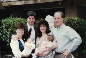 Kitchel and me with our husbands and babies.