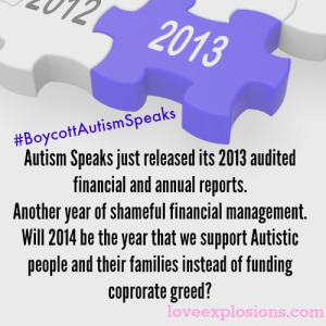 Autism Speaks Do Not Support Boycott