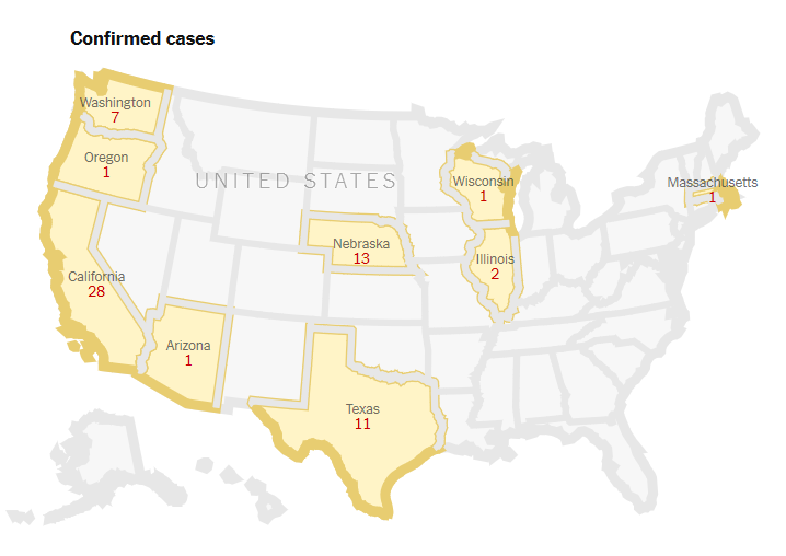 Coronavirus Map 4 US cases Feb 29